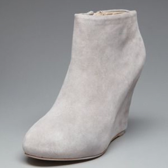Shoes | Grey Suede Wedge Booties | Poshmark